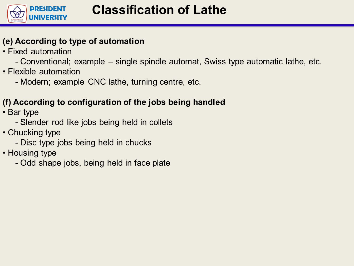 Classification of Lathe